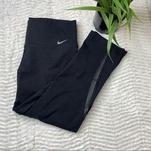 Nike Dri Fit Crop Back Mesh leather trim Leggings